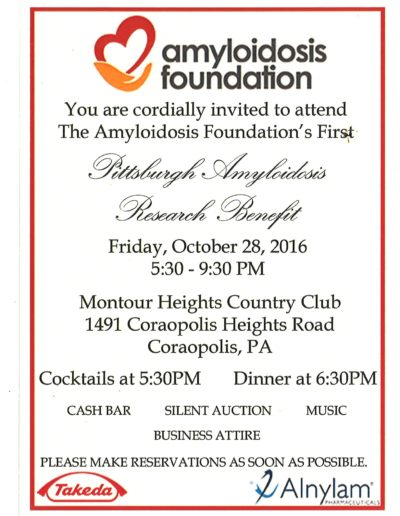 2016 Pittsburgh Amyloidosis Research Benefit